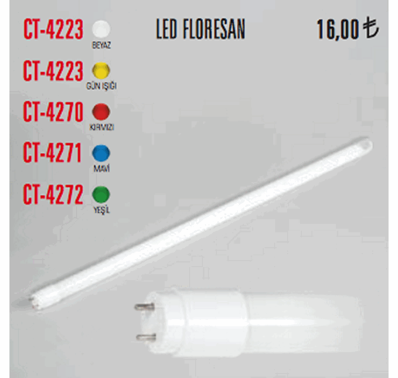 CT 4223 LED FLORESAN AMPÜLLER -CT 4223 LED FLORESAN AMPÜLLER